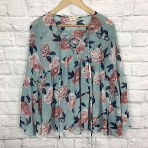 Altar'd State Small Blouse Floral Blue Pink